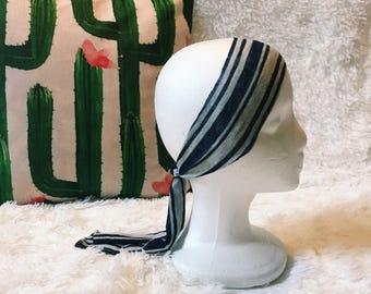 Navy Blue and Gray Striped Headband