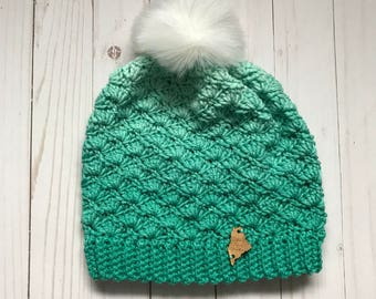 Coco Shell Slouch; Adult Spearmint Ombre Crochet Shell Hat with Detachable Faux Fur Pom Pom