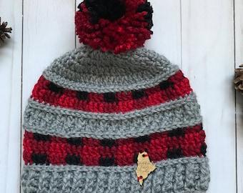 Buffalo Plaid Crochet Beanie; Adult Crochet Hat with Matching Plaid Pom Pom