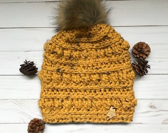 Bumpy Beanie; Adult Crochet Hat with detachable Faux Fur Pom Pom