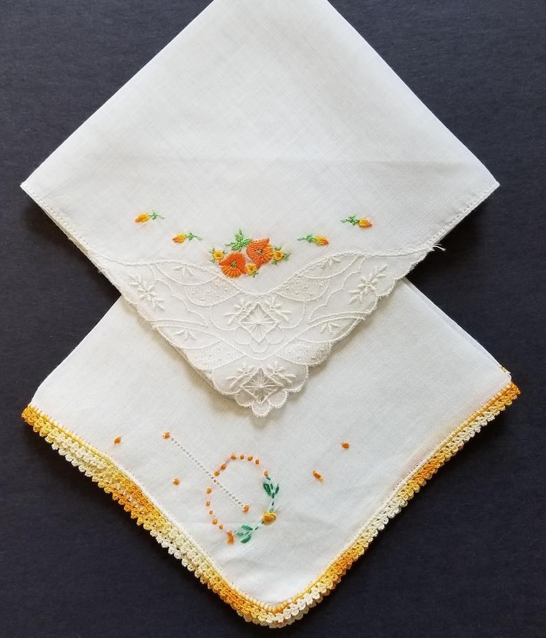 12 Square Crochet Vintage Cotton Handkerchiefs Orange Yellow Floral Embroidered
