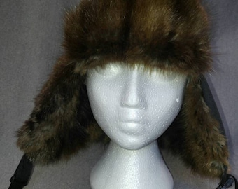 82a065e0d50cf Aviator Trapper Hat with Upcycled Muskrat Fur Flaps and Peak