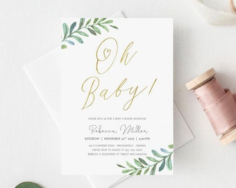Baby Shower Invitation Template Etsy