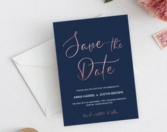 navy rose gold wedding save the date card template download luxury navy rose gold wedding save the date modern navy rose gold idb017d