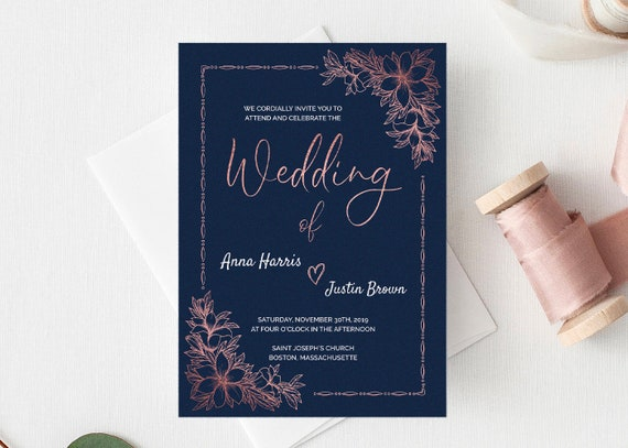 Navy Rose Gold Wedding Invitation Card Template Instant Download Luxury Navy Rose Gold Wedding Invitation Modern Navy Rose Gold Idb017a