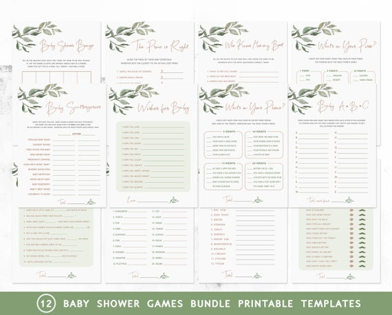 Printable Baby Shower Games Package Greenery Baby Shower Games Bundle Floral Shower Games Template Instant Download Shower Activity DIYRG1