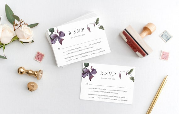 Digital Download Customizable Printable Wedding RSVP Cards Modern Blush /& Rose Gold Watercolor Wedding RSVP Cards