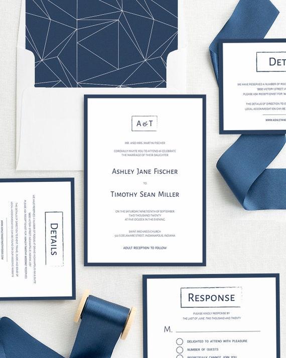 sophisticated luxury monograms modern navy wedding invitations set