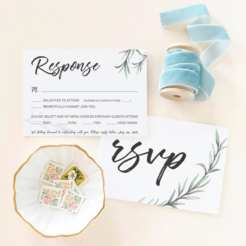 Editable Green Wedding Invitation Templates Set Greenery Wedding Invitation Set Templates Printable Download IDA005A Greenery Botanical