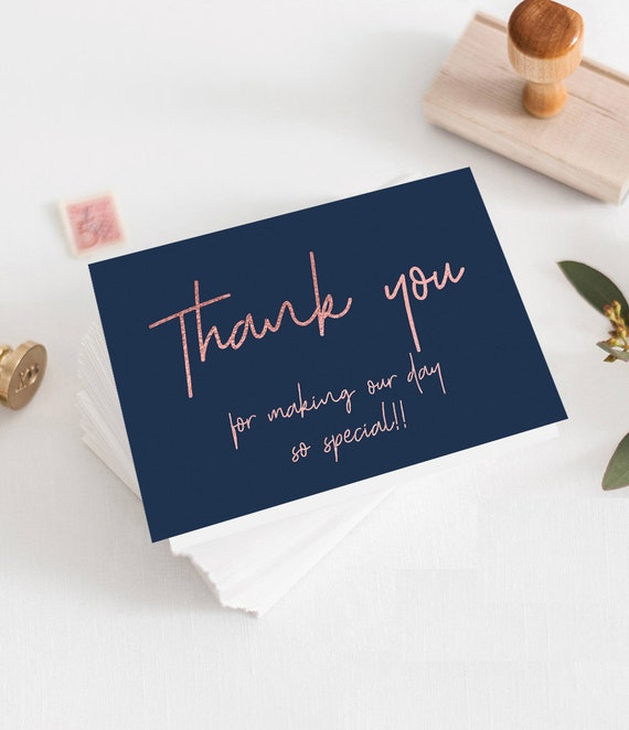 Navy Rose Gold Thank You Card Template Instant Download Navy Blue