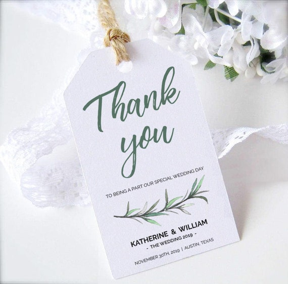 greenery wedding favors tags printable template green thank you