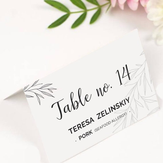 Rustic Wedding Place Cards Template Printable Editable Seating
