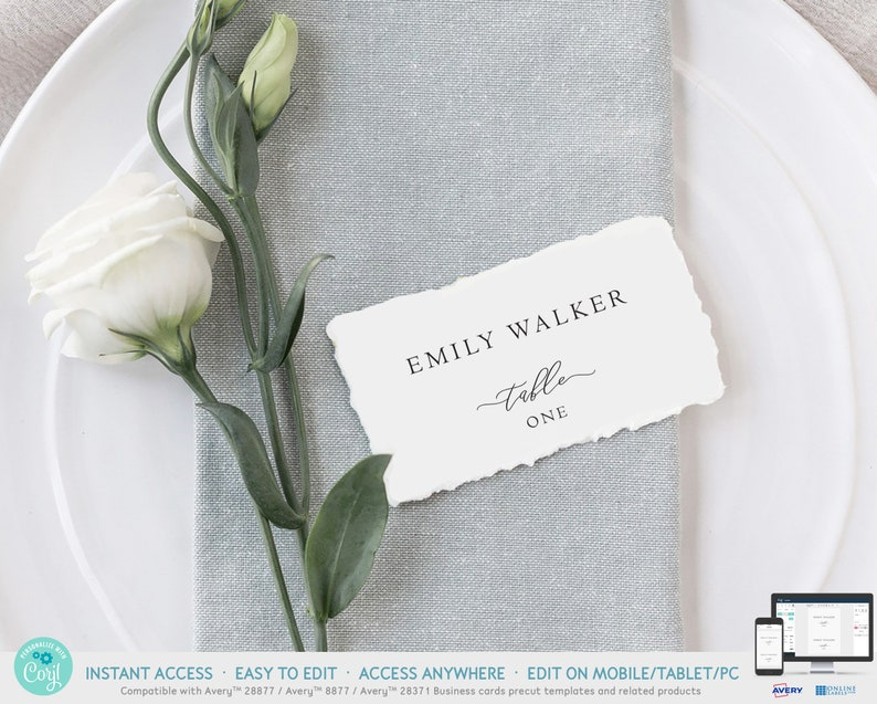Wedding Table Setting Place Card Classic Formal Wedding Place Cards Template with Meal Choice Printable Rustic Wedding Name Card IDB027J
