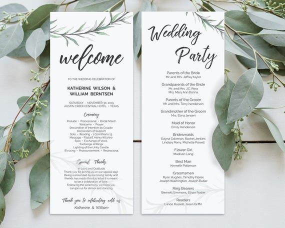 greenery wedding programs template editable wedding programs