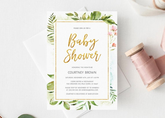 Gold Baby Shower Invitation Template Printable Gender Neutral Baby