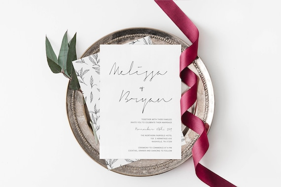 Modern Black And White Wedding Invitation Printable Template