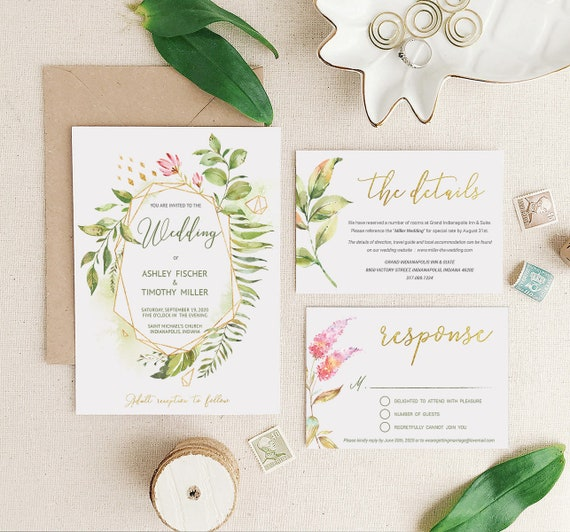 greenery wedding invitation template set instant download gold