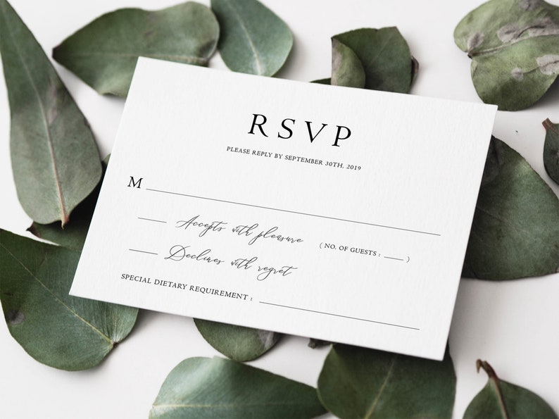 classic vintage wedding rsvp card template instant