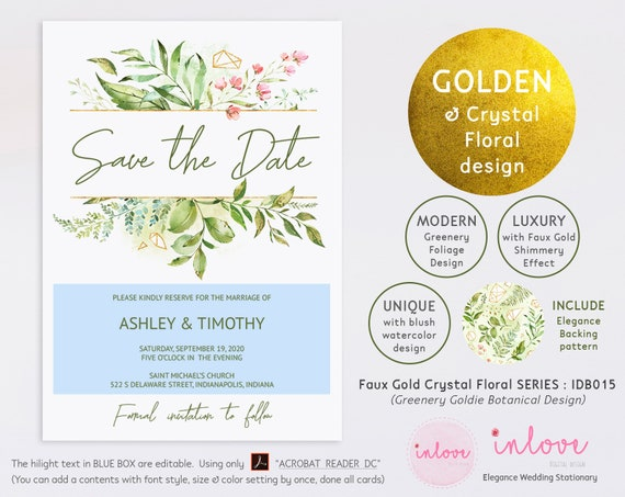Faux Gold Crystal Floral Greenery Wedding Save the Date Card Template Printable Download Editable Green Save the Date Template IDB015D