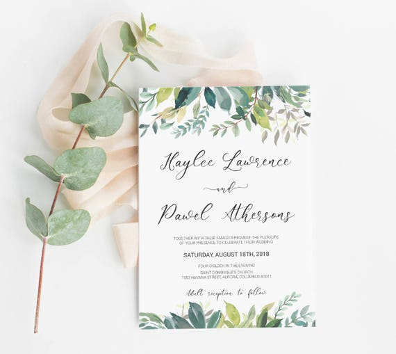 Green Wedding Invitation Template Printable Instant Download Green Watercolor Leaves Wedding Invitation Green Watercolor Leaves Idb009a