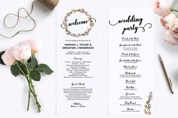 wedding programs template editable wedding programs wedding