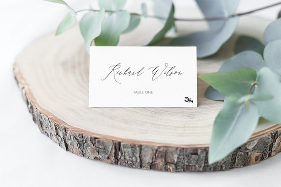 MINNI Editable Place Cards Calligraphy Name Cards Rustic Wedding Place Cards Template Hand Drawing Script Font INSTANT DOWNLOAD