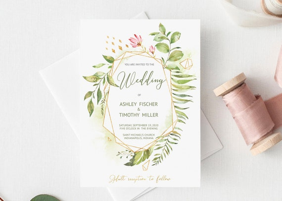 Green Wedding Invitation Template Printable Download