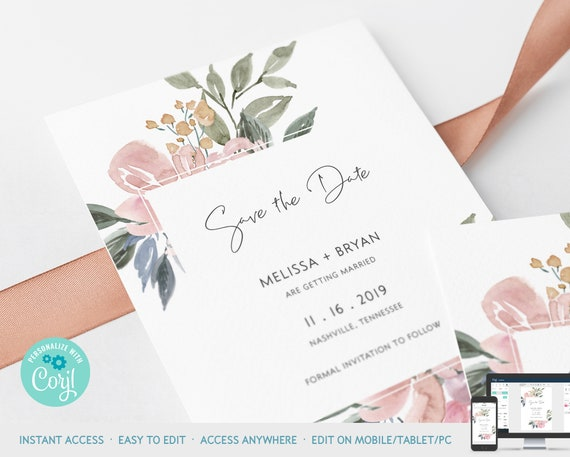 W17 Simple Invitation Template Blush Save the Date Printable Templett W14 Pink Watercolor Save the Date Save the Date Template