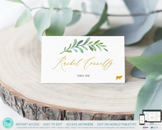 100/% Editable Bridal Rustic Wedding Name Card Printable Place Card Template,Greenery Leaves Seating Card Bohemian Wedding Place Cards