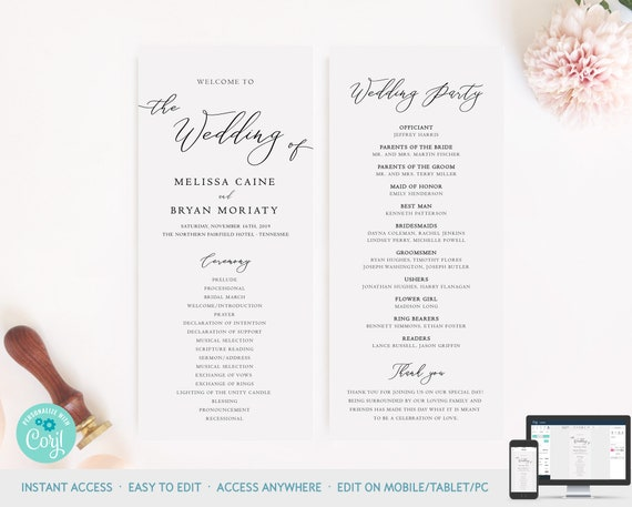 Classic Formal Wedding Ceremony Program Template Personalized