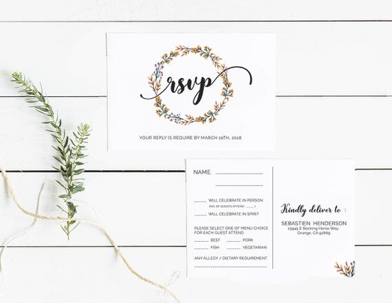 Wedding RSVP Cards Template Printable Editable Floral Reply Postcard