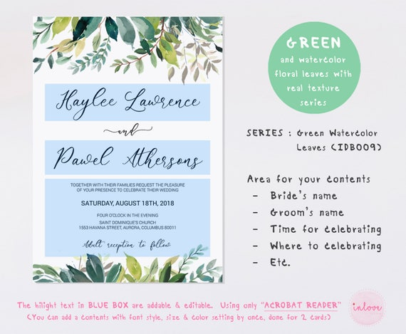 Green Wedding Invitation Cards Template Printable Instant Download Instant Download Digital File Green Watercolor Leaves Idb009a