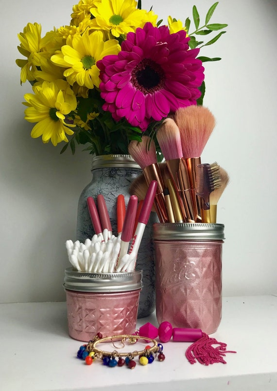 Rose Gold Marble Mason Jar White Marble Make Up Brush Etsy