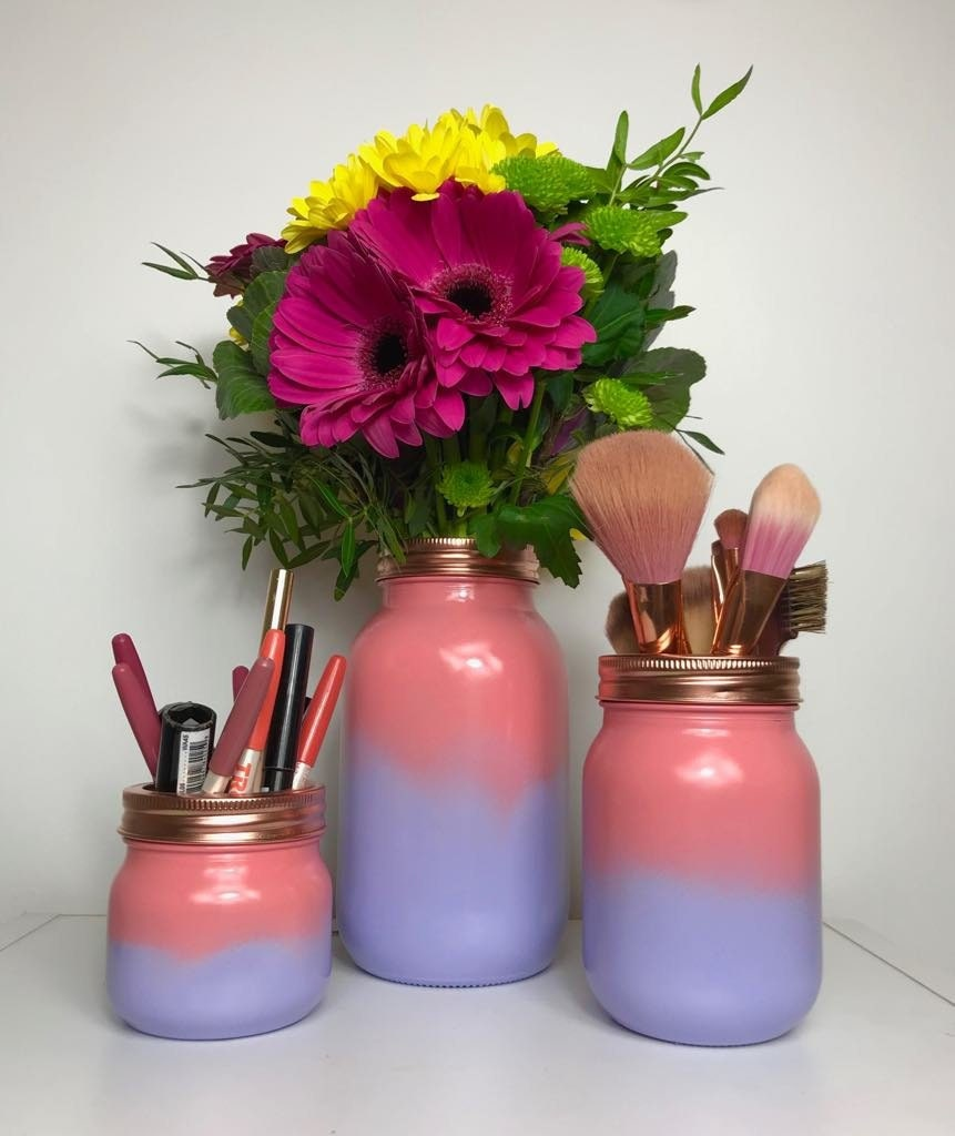 Pink Ombre Purple Ombre Make Up Brush Holder Copper Etsy