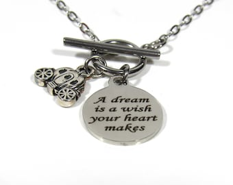 Cinderella - Disney - Charm Necklace - A Dream Is A Wish Your Heart Makes
