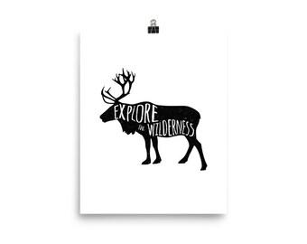 Explore the Wilderness Poster (Outdoors, Adventure, Minimal, Animal, Wild, Silhouette)