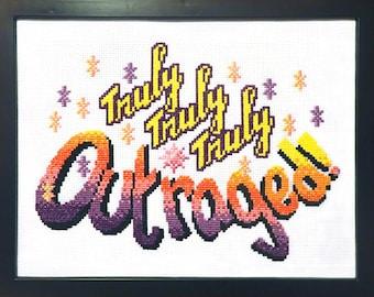 Truly, Truly, Truly Outraged, Jem-inspired advanced cross stitch pattern PDF
