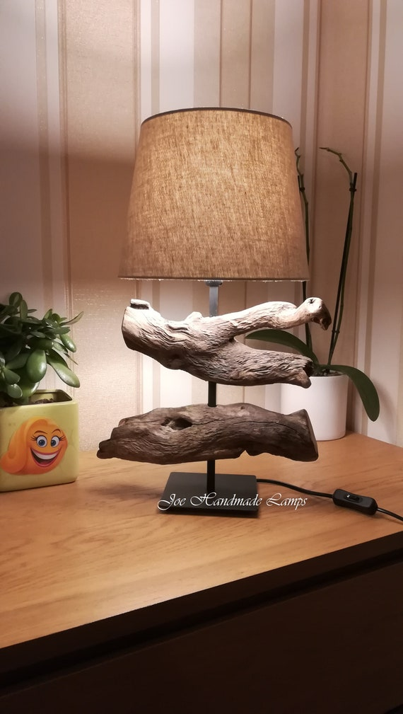 Table bois flotté lampe Led ampoule salon ou chambre à coucher | Etsy