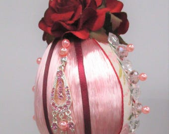 Pink satin EGG ORNAMENT with tassel
