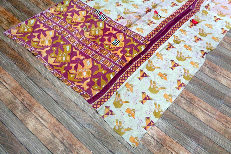 Indian Vintage Cotton Kantha Quilt Floral Kantha Bedcover Handmade Fine Kantha Quilt Reversible Blanket Twin Ralli Old Gudari Cotton Throw