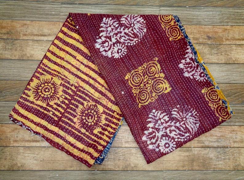 Vintage Cotton Kantha Quilt Handmade Kantha Quilt Reversible Blanket Indian Floral Kantha Bedcover Twin Size Ralli Gudari Cotton Throw