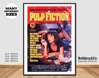 Pulp Fiction poster art print pulp fiction, Quintin Tarantino Movie poster pulp fiction