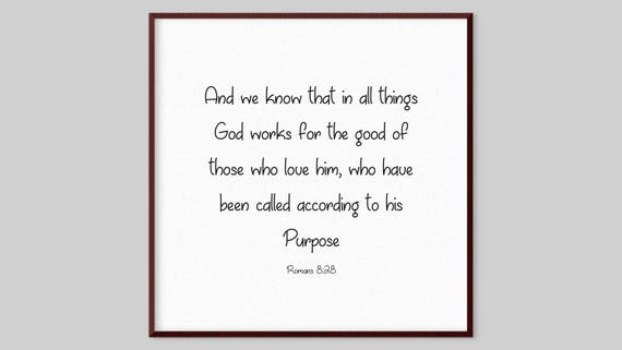 Romans 8:28 Scripture Canvas Wall Art And we know that in   Etsy