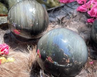 Silver Sheen Obsidian Sphere, Polished Obsidian Crystal Ball, #SSG5