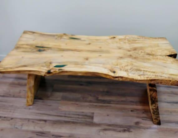 Sold Live Edge Poplar Wood Coffee Table Green Epoxy Resin Inlay Natural Wood Lodge Furniture Rustic Country Handmade Ooak