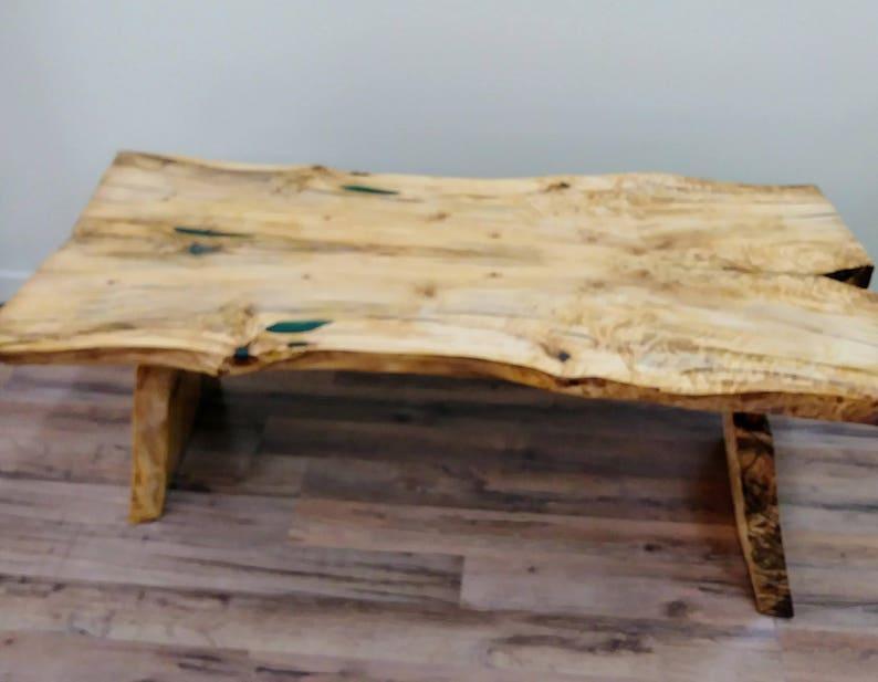 Natural Wood Coffee Table.Sold Live Edge Poplar Wood Coffee Table Green Epoxy Resin Inlay Natural Wood Lodge Furniture Rustic Country Handmade Ooak
