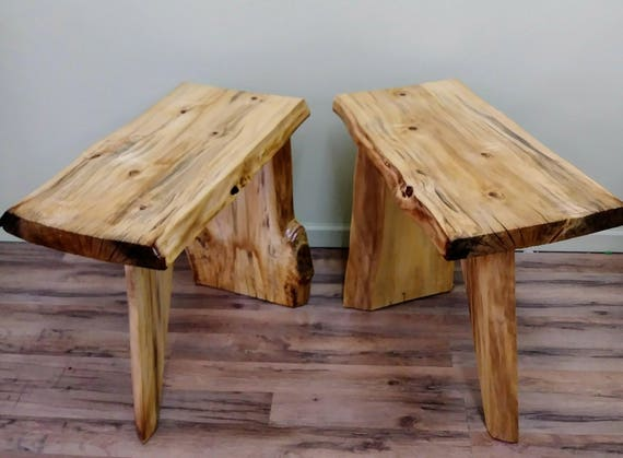 Live Edge Poplar Wood Set Of End Tables Natural Wood Lodge