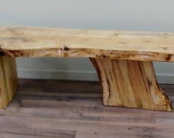 Live Edge Poplar Wood Coffee Table, Natural Wood, Lodge Furniture, Rustic,  Country