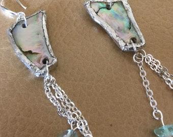 Silver Abalone shell drop earrings