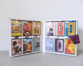 70s cassette box/cassettes/1970 's Tape Box tapes music/box with 12 cassettes 70s/pocket cassettes